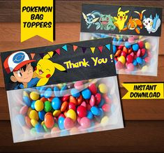 Pokemon Bag Toppers-Printables Pokemon Bag Toppers-Pokemon Favors-Digital Pokemon Bag Toppers-Pokemon Party Decoration-DIGITAL DOWNLOAD by CosmicPrintArt on Etsy https://www.etsy.com/listing/512354429/pokemon-bag-toppers-printables-pokemon