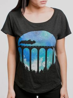 40b2dbfcc Night train - multicolored on the black triblend women's Dolman t-shirt -  Jessica Moore