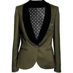 Army Green tailored womens blazer jacket ($310) ❤ liked on Polyvore