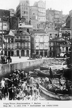 Vigo. Barrio pesquero de O Berbés. Anos 20