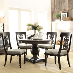 Belmeade Wood Round Dining Table And Chairs In Old World Oak By Riverside  Furniture | Humble