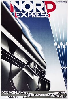 View this item and discover similar for sale at - Original vintage poster for Nord Express. Dynamic Art Deco design by the notable poster artist, A. Cassandre featuring a steam train locomotive Retro Poster, Art Deco Posters, Poster Ads, Vintage Travel Posters, Modern Posters, Wpa Posters, Railway Posters, Advertising Poster, Riga