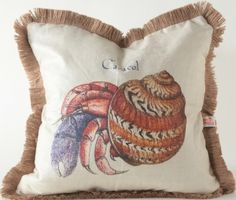 Hermit Crab w/ Jute Fringe Pillow