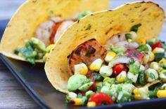 Shrimp Tacos with Grilled Poblano and Avocado Salsa via Eat Live Run