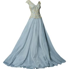 Chrystelle Atallah - edited by mlleemilee ❤ liked on Polyvore featuring dresses, gowns, long dresses, vestidos, long blue dress, blue gown, blue dress and blue ball gown