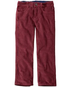 These awesome favorites have a modern slim straight leg cut that's rugged and ready for all-out play. Superwashed corduroy, authentic construction and extra coin pocket. <br>• Superwashed cotton pinwale corduroy<br>• Fly front<br>• Easy adjustable inner waist <br>• Stretch back <br>• Flat felled inseams<br>• Imported