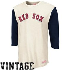 Mitchell   Ness Boston Red Sox Cooperstown Collection Batter 3 4 Raglan  Sleeve T-Shirt - Natural Navy Blue 73833b573