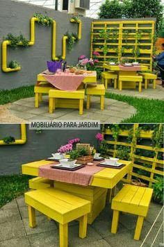 Ideas Pallet Furniture Outdoor Patio Paint For 2019 Pallet Garden Furniture, Furniture Projects, Diy Furniture, Outdoor Furniture Sets, Outdoor Decor, Outdoor Pallet, Modern Furniture, Playhouse Furniture, Palette Furniture