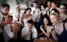 5 Fun Ideas for Group Wedding Photos - I can totally see us needing Starbucks on The Day.
