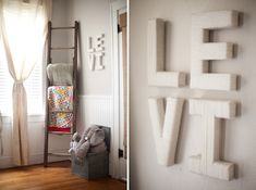 Love these ideas: old ladder turned blanket storage, plus yarn wrapped letters! Photo by Britney Smith Photography.