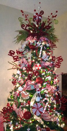 Christmas tree - peppermint red and green
