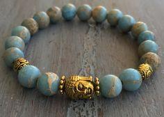 Buddha Bracelet Boho Chic Bohemian Jewelry Jasper by indietiez
