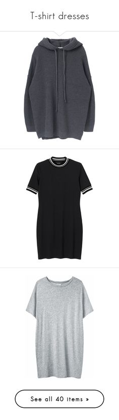 """""""T-shirt dresses"""" by wezal ❤ liked on Polyvore featuring dresses, tops, hoodies, sweaters, long sleeves, long sleeve knit dress, knit sweater dress, long sleeve dress, long sleeve hooded dress and loose fitting dresses"""