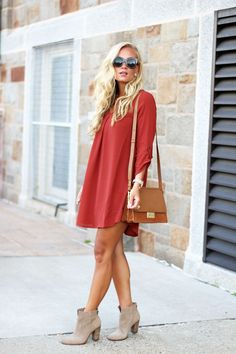 Fall shift Dress + Tan Booties + Tan Bag