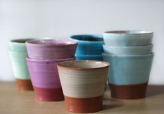 Gorgeous colourful Katherine Smyth ramekins/espresso cups  vessel.co.nz