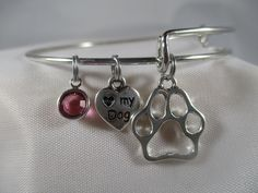 Dog jewelry, dog bracelet, expandable bangle bracelet, birthstone bracelet, paw  print bracelet, pet lovers bracelet, charm bracelet by Serenebaysidejewelry on Etsy