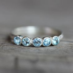Aquamarine Anniversary Band Ring Sterling Silver by onegarnetgirl, $228.00