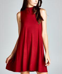 Loving this Burgundy Mock Neck Sleeveless Dress - Women on #zulily! #zulilyfinds