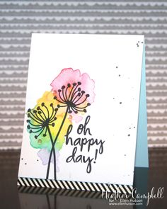Ellen Hutson Essentials by Ellen stamps flower CAS card watercolor