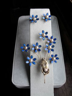 "Vintage Sterling and Blue Enamel Flower ""Trembler"" W Faux Pearls Brooch & Earrings"