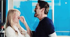 "Gwyneth and Robert between takes, ""Iron Man 3"""