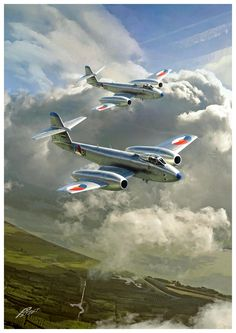 Aviation Artwork — RNAF Gloster Meteors by Peter van Stigt Airplane History, Airplane Art, Aviation Theme, Aviation Art, Military Jets, Military Aircraft, Royal Dutch, Gloster Meteor, War Jet
