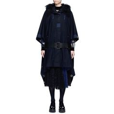 Sacai Grommet trim belted wool poncho ($1,625) ❤ liked on Polyvore featuring outerwear, blue, wool poncho, blue cloak, blue hooded cloak, sacai and hooded poncho