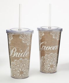 This 'Bride & Groom' 20-Oz. Acrylic Cup Set by Cypress Home is perfect! #zulilyfinds