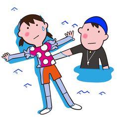 着衣水泳 背浮きの練習 イラスト