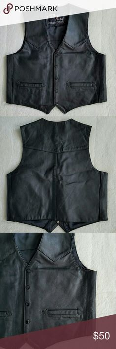 NWOT Men's Leather Biker Vest Brand new men's Leather vest, size 44. Features snap closure, satin lining, and inside breast pocket and two outer pockets. Bike season is coming! Jackets & Coats Vests