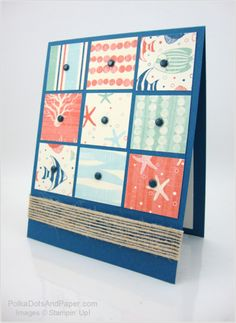 handmade quilt card ... 9 patch panel with squares punched from nautical themed papers ... luv the enamel dots in the centers ... twine strip ribbon border ... Stampin' Up!