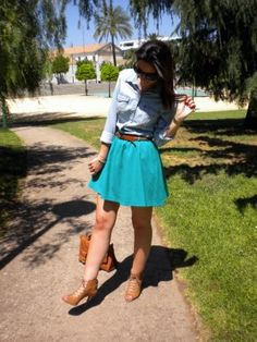inlovelychic Outfit   Verano 2012. Combinar Camisa-Blusa Azul H