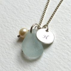 Personalized English Sea Glass Necklace  by thestrandline on Etsy, $40.00
