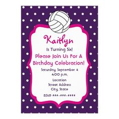 Girls Volleyball Birthday Invite- Purple With Pink