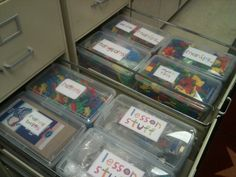 This is a cool idea. I might even use it in my own desk for all my teacher stuff. from:First Grade Factory: Classroom Clutter Filing Cabinet Organization, Classroom Organisation, Teacher Organization, Classroom Setup, Classroom Design, Preschool Classroom, Classroom Management, Filing Cabinets, Scrapbook Organization