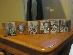Father's day craft. Ella and I took pictures with white cardboard letters, I had them printed onto wallet size pictures, and then Mod-Podged them onto some old wood blocks we had laying around which I stained (used an inexpensive spray stain- only took a few minutes to dry). Dada said it was the best present he has ever gotten! :D yay me!