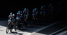 The Sky Procycling team passes under a bridge during the fourth stage of the Tour de France cycling race, a team time-trial over 25 kilometers (15.6 miles) with start and finish in Nice, southern France, on July 2. (Laurent Cipriani/Associated Press)