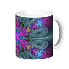 Mandala from the Center Colorful Fractal Art Coffee Mug