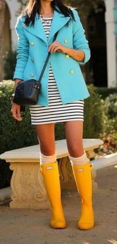 Rainy Spring Fashion! I think I'll wear green striped flare dress with my black multi-color polka dot rain boots!