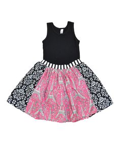 Look at this Black Tank & Pink Eiffel Tower Skirt - Toddler & Girls on #zulily today!