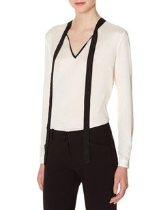 $39.99 Colorblock Bow Blouse from THELIMITED.com