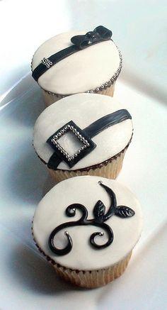 Elegant couture wedding cupcakes