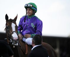 Jockey Victor Espinoza and California Chrome after winning the Preakness at Pimlico Race Course. Images Of California, Preakness Stakes, Horse Racing, Riding Helmets, Derby, Chrome
