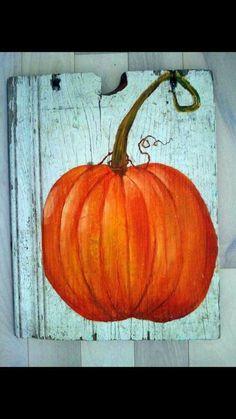 Pumpkin Acrylic Painting on Old Barn Wood by MrsGobel on Etsy Pallet Painting, Pallet Art, Tole Painting, Painting On Wood, Wooden Pumpkins, Painted Pumpkins, Fall Pumpkins, Pumpkin Drawing, Pumpkin Art