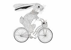 A nice illustration for the nursery. Art And Illustration, Bicycle Illustration, Rabbit Illustration, Building Illustration, Drawing S, Art Drawings, Bike Drawing, Rabbit Art, Bunny Art