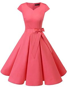 Women's Vintage Tea Dress Prom Swing Cocktail Party Dress with Cap-Sleeves. Pretty Dresses, Sexy Dresses, Beautiful Dresses, Dress Outfits, Fashion Dresses, Classic Dresses, Vintage Tea Dress, Vintage Dresses, Retro Dress