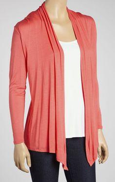 Orange Long-Sleeve Open Cardigan Solid