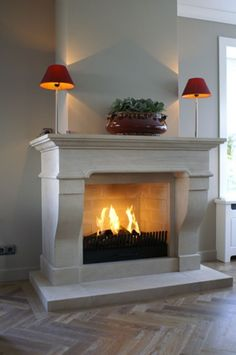 Color of stone Stone Fireplace Mantel, Fireplace Bookshelves, White Fireplace, Fireplace Surrounds, Fireplace Design, Limestone Fireplace, Natural Stone Fireplaces, Great Rooms, Family Room