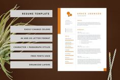 Resume + Cover Letter Template. Creative and modern resume templates. More #professional #resumes you can download here ➝ https://creativemarket.com/templates/resumes?u=BarcelonaDesignShop