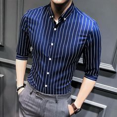 social masculina brand clothing men summer casual shirt half sleeve fashionliligla - Men's style, accessories, mens fashion trends 2020 Mode Masculine, Formal Men Outfit, Work Outfit Men, Formal Dresses For Men, Moda Formal, Half Sleeve Shirts, Herren Outfit, Mens Fashion Suits, Summer Shirts